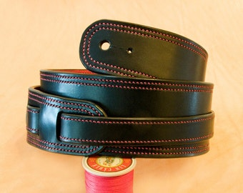 Handmade and stitched leather guitar strap (65mm)