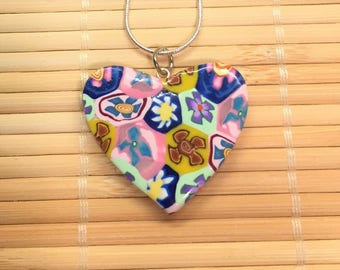 Floral Heart Valentine's Day Necklace Pendant Multicolored - Polymer Clay Jewelry for Women