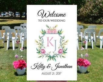 Wedding welcome sign printable, Monogram wedding sign, Printable wedding signs, Welcome to wedding sign, Welcome to out wedding sign,