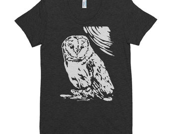 Barn Owl Women's American Apparel Crew Neck T-shirt