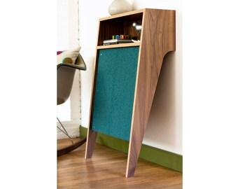 "Mid Century Modern Cat Scratcher   Modern Cat Furniture   MCM Walnut Console Table   Changeable Scratch Pad  ""Cat Console"""