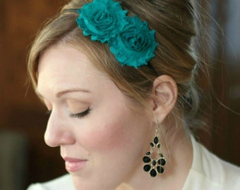Teal Blue Double Flower Headband for Women