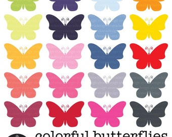 Digital Clip Art - 20 Colorful Butterflies