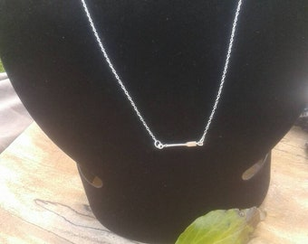Delicate tiny sterling silver arrow pendant necklace