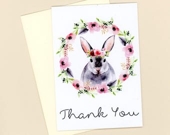 Rabbit Thank You Note Cards, Watercolor Cards, Flat Cards, Blank Cards, Wreath, Flowers and Rabbit, Bunny Cards