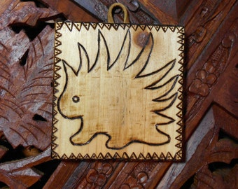"""3"""" Porcupine Plaque - Pyrography Art, Wooden Plaque, Wall Art, Wood Burned Plaque, Free State Project"""