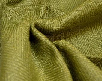Anna Dark Green Herringbone Fabric