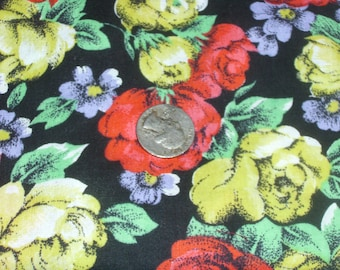 Black Floral Fabric / Large Cabbage Roses / Red and Yellow Roses on Black  / Quilting Fabric / Sewing Fabric