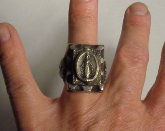 Mexican Biker Ring, Virgin Mary Ring, Mexican Souvenir Ring Size 8