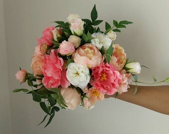 Boh Wedding Flowers, Greenery, Peach, Coral,  Salmon, Cream,  Woodland Wedding Bouquet, Flowers, Dahlias, Rustic, Bridal Bouquet