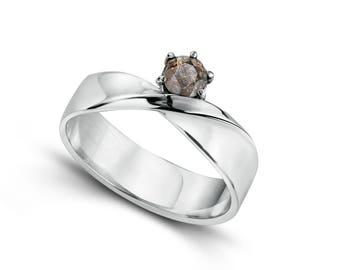Meteorite Ring in silver (Diamond cut, Möbius strip, band, Ribbon of Infinity, Neverending Love)