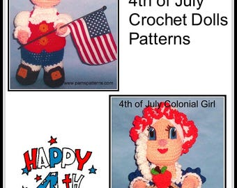 Colonial 4th of July Crochet Dolls Patterns, 4th of July crochet, colonial dolls, crochet colonial