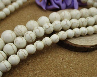 """15.5"""" 12mm/10mm/8mm White Magnesite Beads, Round Gemstone Beads, White Turquoise-G2001"""