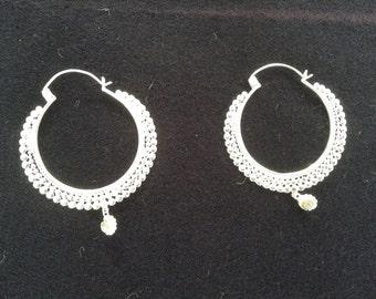 Silver hoop earrings with Labradorite pendant