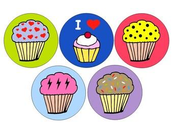 Cupcakes pinback button set