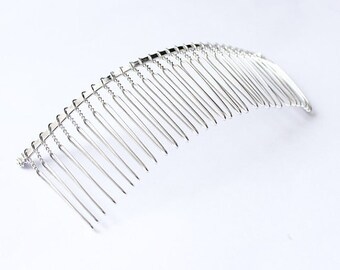 Wedding veil comb DIY twisted wire metal comb silver tone