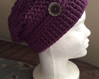 Slouchy Hats, Crochet Slouch Hat Mulberry, Skull Caps and Beanies, Berets and Tams, Crochet Beanie, Knit Beanie,