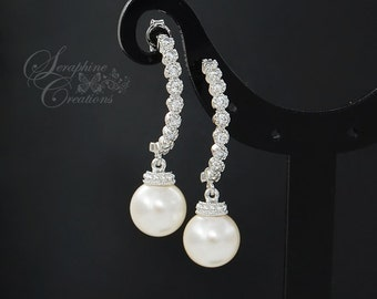 Pearl Earrings Wedding Jewelry Bridal Earrings Long Swarovski Pearls Cubic Zirconia Halfmoon Drop Vintage Style Bridesmaid Gift Classic K067