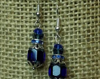 Cobalt Blue Crystal Earrings