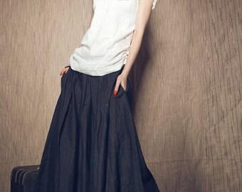 Long Linen Skirt / Navy Blue Ruffle Skirt/ Pleated Maxi Skirt (custom Made) A8019
