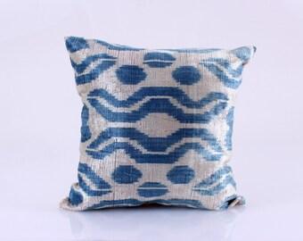 Ikat Velvet Pillow Cover, Uzbek Ikat, Grey Blue Pillow, Velvet Pillow, Decorative Throw Pillow Cover Accent Velvet Pillow 16''x16''inches