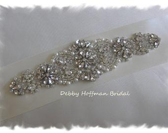 Rhinestone Crystal Pearl Bridal Sash, Pearl Crystal Wedding Sash, Jeweled Pearl Bridal Belt Sash, Wide Wedding  Belt, No. 4060S2.25, Sale