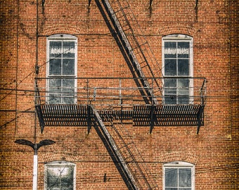 Vintage Brick Building Fire Escape Photo Print Art Wall Decor Brooklyn NYC New York Rusted Aged