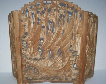Vintage/Antique CHINESE Carved Wood TABLE SCREEN with Sailing Ships Scenes