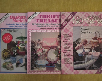 3 booklets, No Sew lined baskets, Thrifty Treasures 16 projects, and Baskets & Boxes Made Beautiful, 10 projects, all easy crafts for home