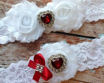 White LOVE wedding garter set  / garter/  lace garter / toss garter included /  wedding garter / vintage inspired lace garter