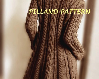 Sweater Coat knitting pattern PDF Cable knit  A line coat, Instant Download pattern in ENGLISH ONLY