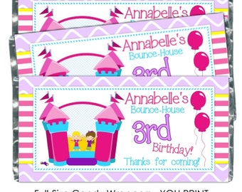 Printable Candy Wrappers, Bounce House Candy Wrapper, Bouce House Birthday candy wrappers, fit over chocolate bars - YOU PRINT