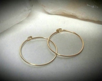Gold Hoops - 14K Gold Hoop Earrings - Solid Gold Hoops - 14K Gold Earrings - 1 Inch Hoops - 2 Inch Hoops - Minimalist - 14K Gold Jewelry