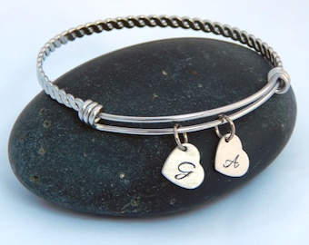 Personalized Silver Adjustable Braided Bangle Bracelet with Hand Stamped Initial Heart Custom Bangle Bracelet Mommy Bracelet