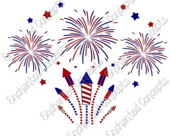 Fireworks SVG, Patriotic, 4th of July Cutting Files, eps, svg, dxf, png, cutting plotter files, fireworks, Rockets, Silhoutte, Cricut