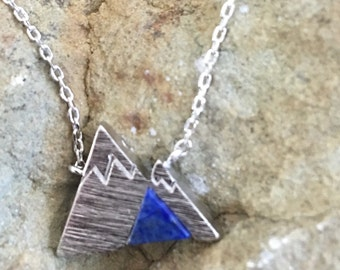 Silver Mountain Necklace with blue marble