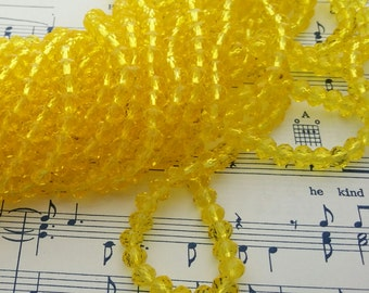 Yellow Glass Beads - 42 pcs - 6 x 4 mm - Light Yellow Beads - Faceted Glass Beads - Rondelles