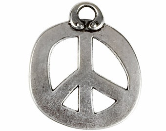 3 Silver Peace Charm Pendant 36x31mm by TIJC SP0933