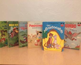 Six 1970s Walt Disney's Wonderful World of Reading Books - Aristocats, Brer Rabbit, Dumbo, Pinocchio, Rescuers, Jungle Book Runaway Wolf Cub