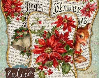 Weihnachten Geschenkanhänger, bedruckbar, Digital, Collage Blatt, Junk-Zeitschrift Tags, Jahrgang Weihnachten, bedruckbare-Tag, Frohe Weihnachten, Kattun Collage
