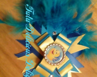 Flounder the fish Hair Bow With Feathers