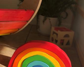 Rainbow Stacking Toy - Rainbow Stacker - Nesting