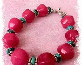 Pink Candy Jade and Turquoise Bracelet