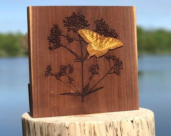 Laser Engraved Wooden Photography - Butterfly Bush