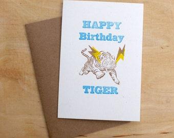 Happy Birthday Tiger linocut letterpress card