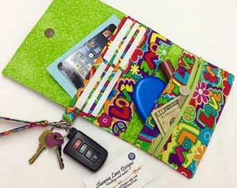 phone wallet, wristlet, women's wallet, made to order, you CHOOSE FABRIC, padded wallet with strap, shawna lane designs, affordable gifts