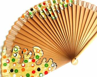 Hand Fans, hand fan, Abanico, fan in natural, handpainted