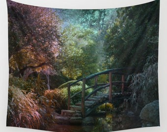 Bridge in Forest Wall Tapestry, Forest Wall Art, Modern, Home, Nature, Tree, Woods, Dorm, Office, Surreal Art, Woods Decor, Romantic Art