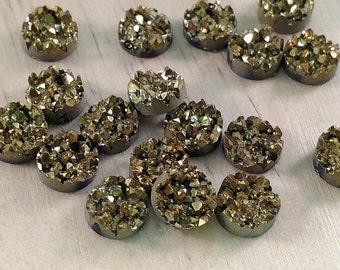 Pyrite Gold 10mm Faux Druzy Cluster Cabochons 10pcs - B8:9
