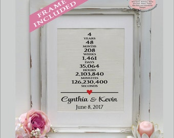 4 years together | Linen Anniversary Print | 4th Wedding Anniversary Gift | Weeks Days Hours Minutes Seconds | Gift for Wife ( ann405-1)